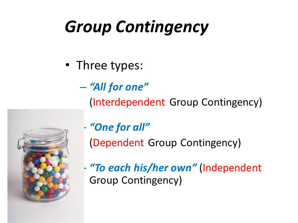 Group Contingency Three types: All for one