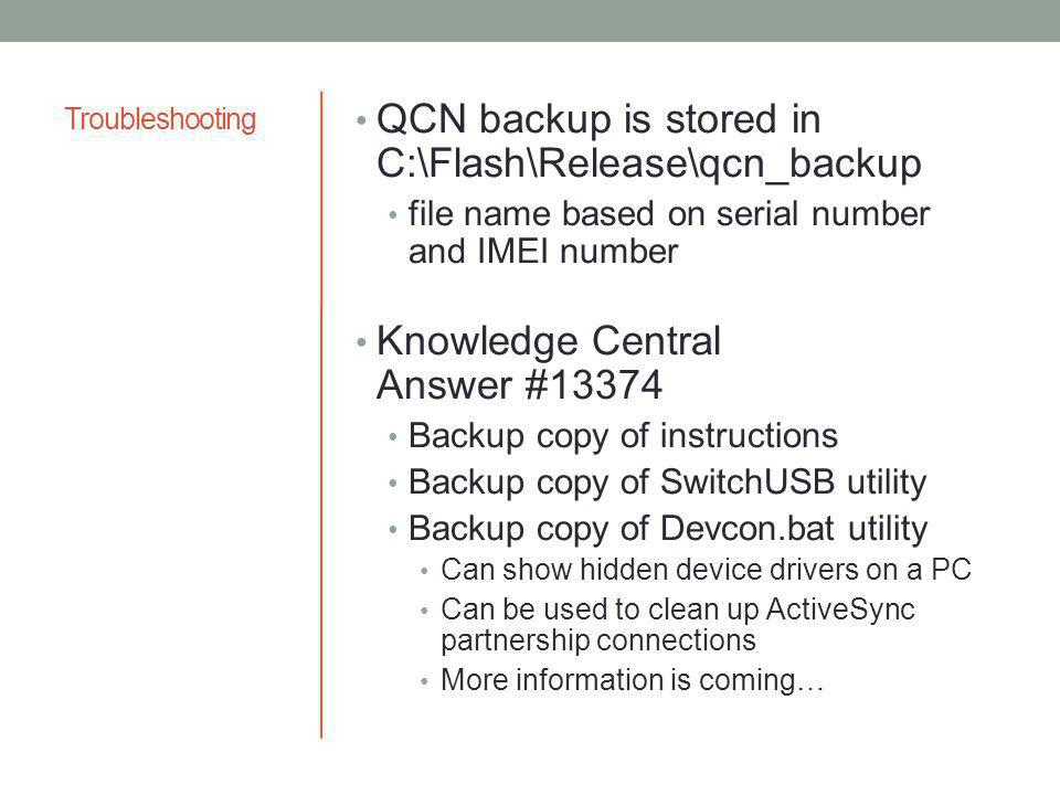 QCN backup is stored in C:\Flash\Release\qcn_backup