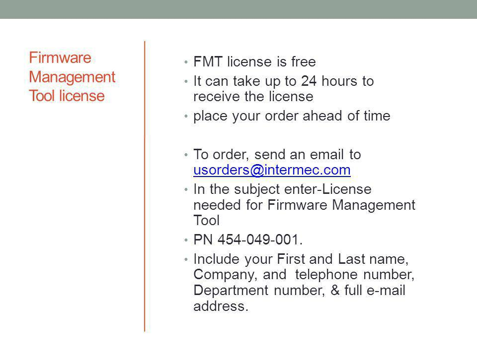 Firmware Management Tool license