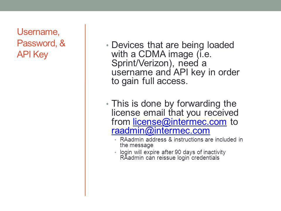 Username, Password, & API Key