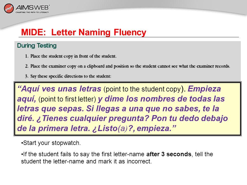 MIDE: Letter Naming Fluency