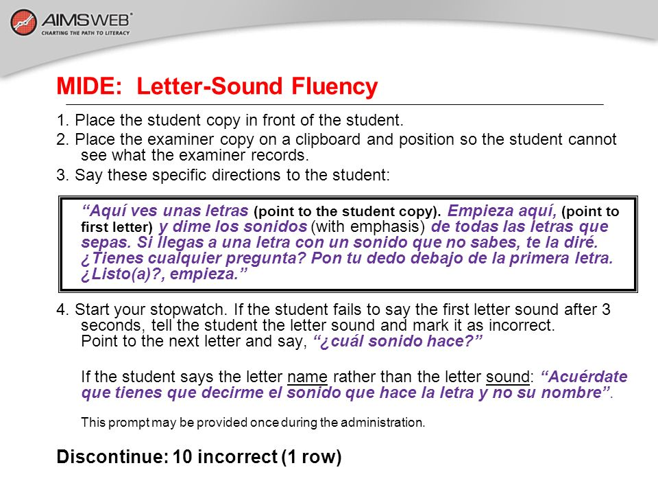 MIDE: Letter-Sound Fluency