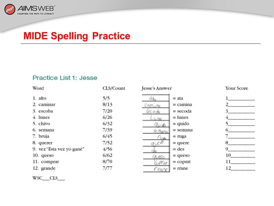 MIDE Spelling Practice