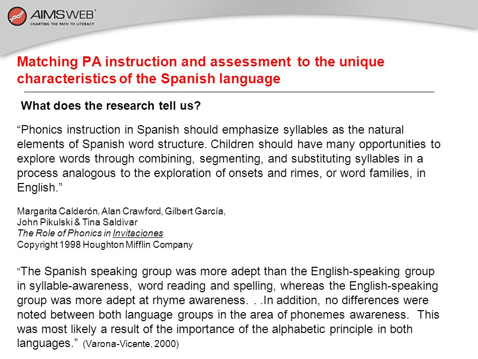 Matching PA instruction and assessment to the unique characteristics of the Spanish language