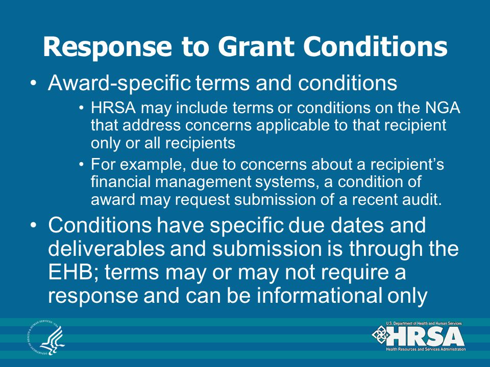 Response to Grant Conditions