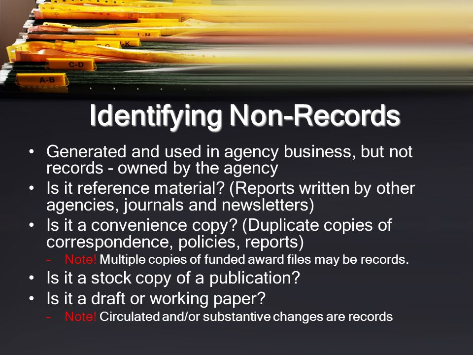 Identifying Non-Records