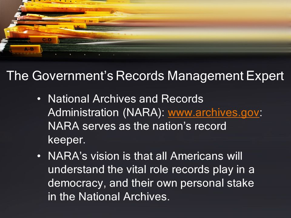 The Government's Records Management Expert
