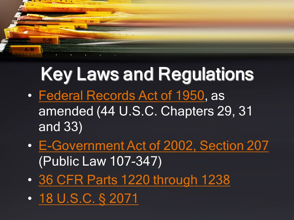 Key Laws and Regulations