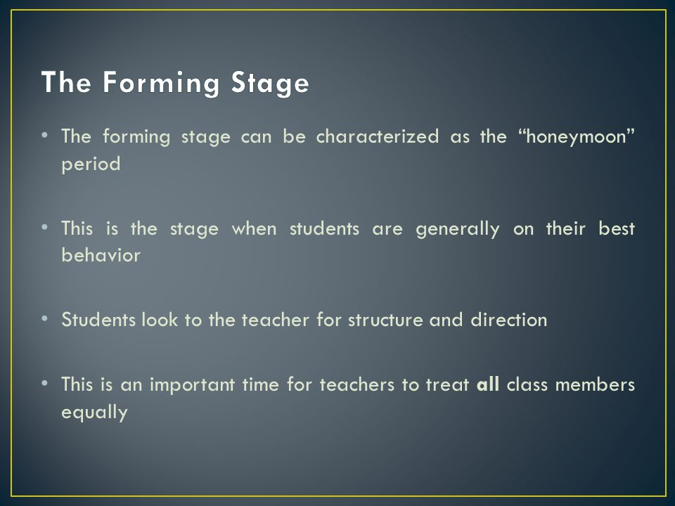 The Forming Stage The forming stage can be characterized as the honeymoon period.