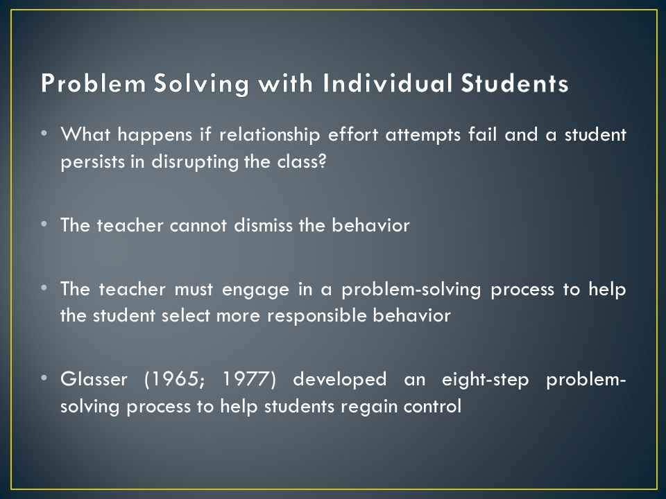 Problem Solving with Individual Students