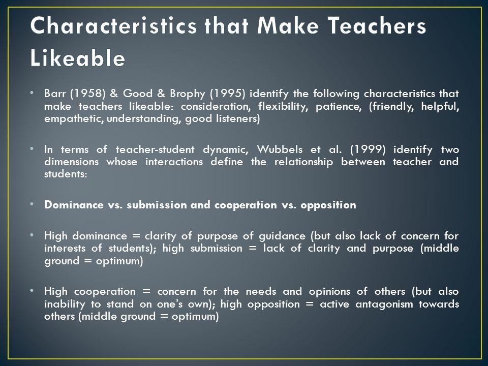 Characteristics that Make Teachers Likeable