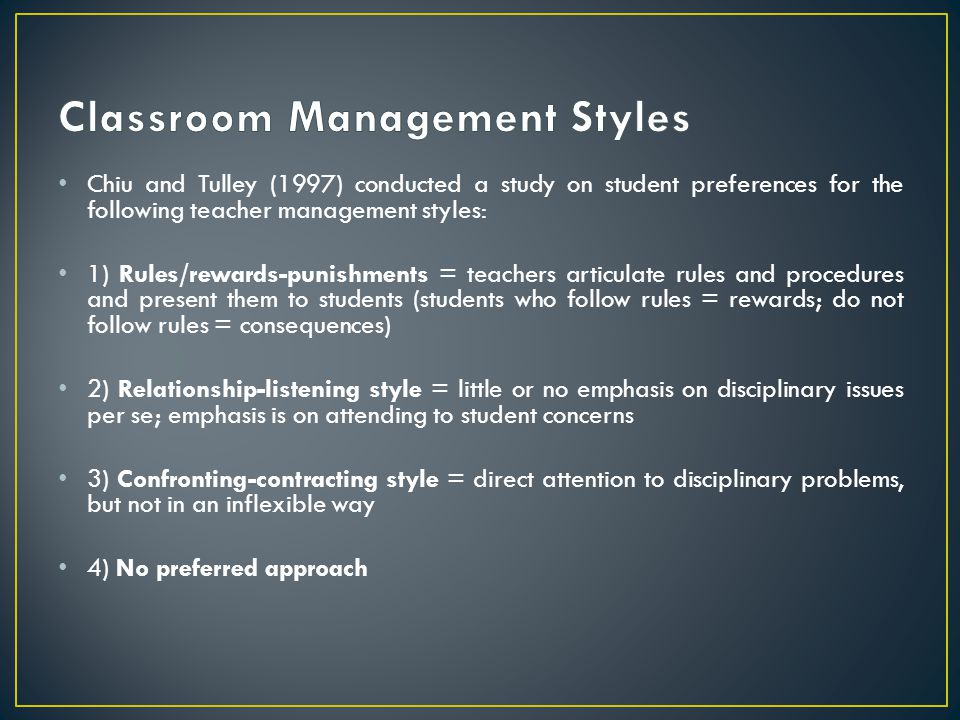 Classroom Management Styles