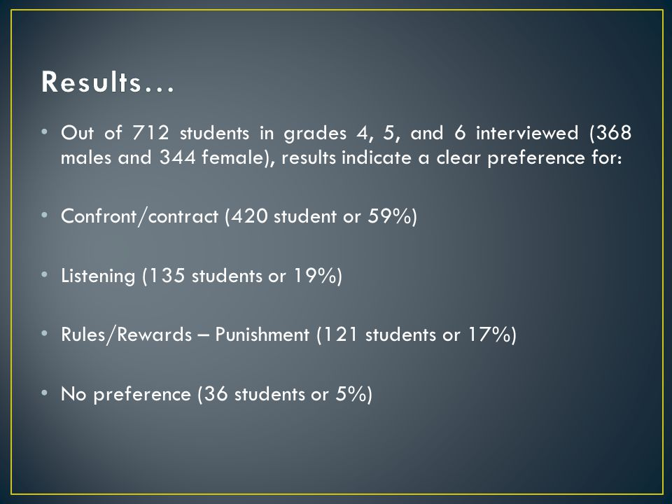 Results… Out of 712 students in grades 4, 5, and 6 interviewed (368 males and 344 female), results indicate a clear preference for: