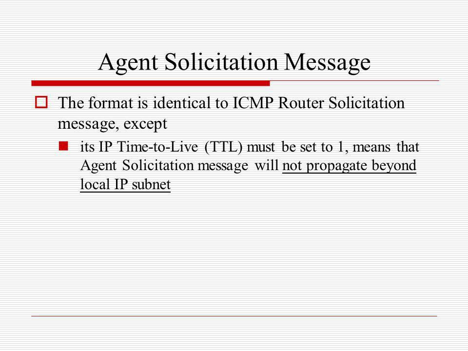 Agent Solicitation Message
