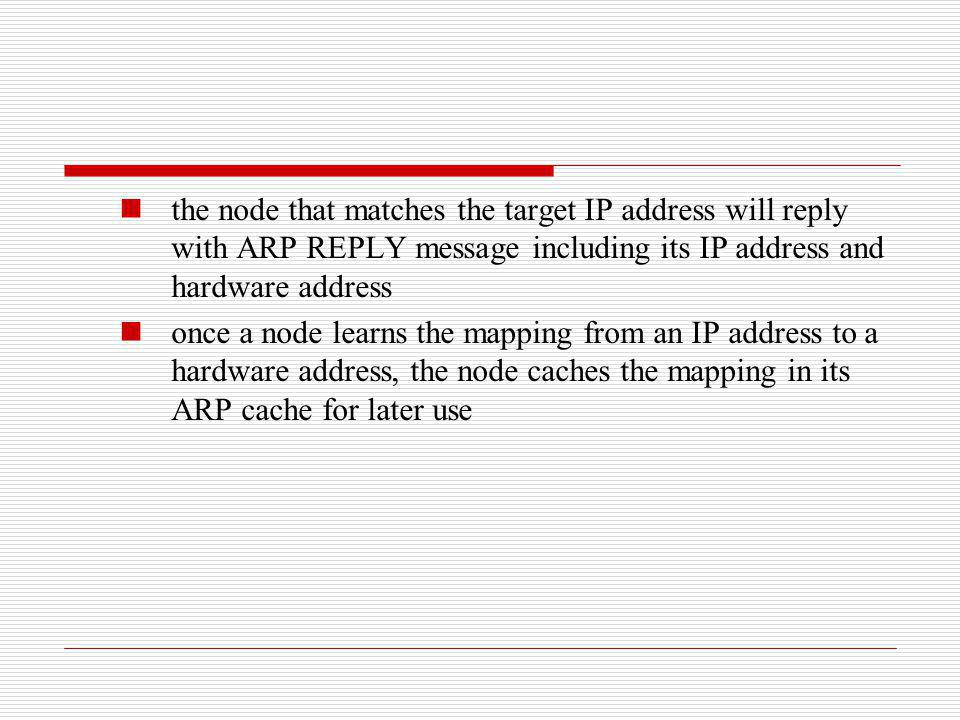 the node that matches the target IP address will reply with ARP REPLY message including its IP address and hardware address