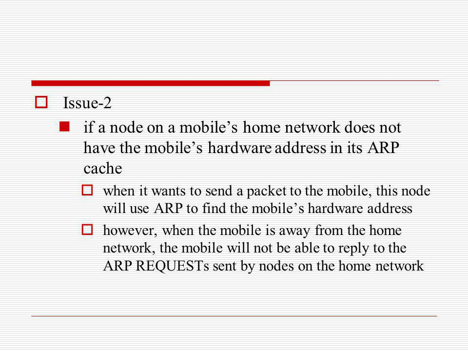 Issue-2 if a node on a mobile's home network does not have the mobile's hardware address in its ARP cache.
