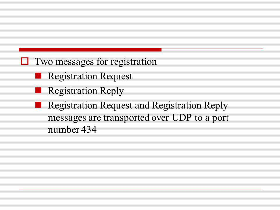 Two messages for registration