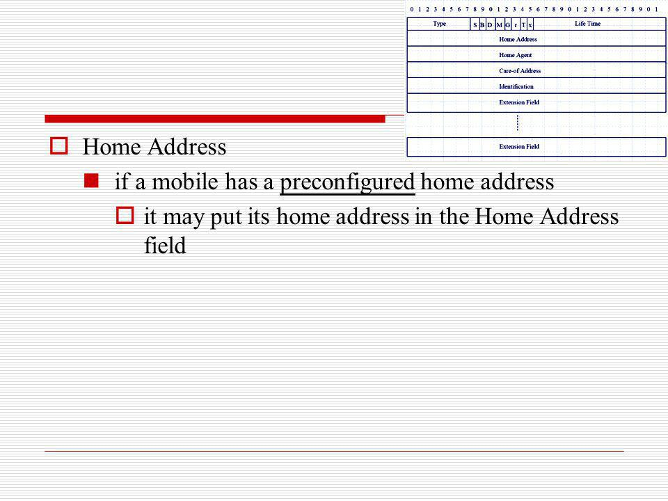 Home Address if a mobile has a preconfigured home address.