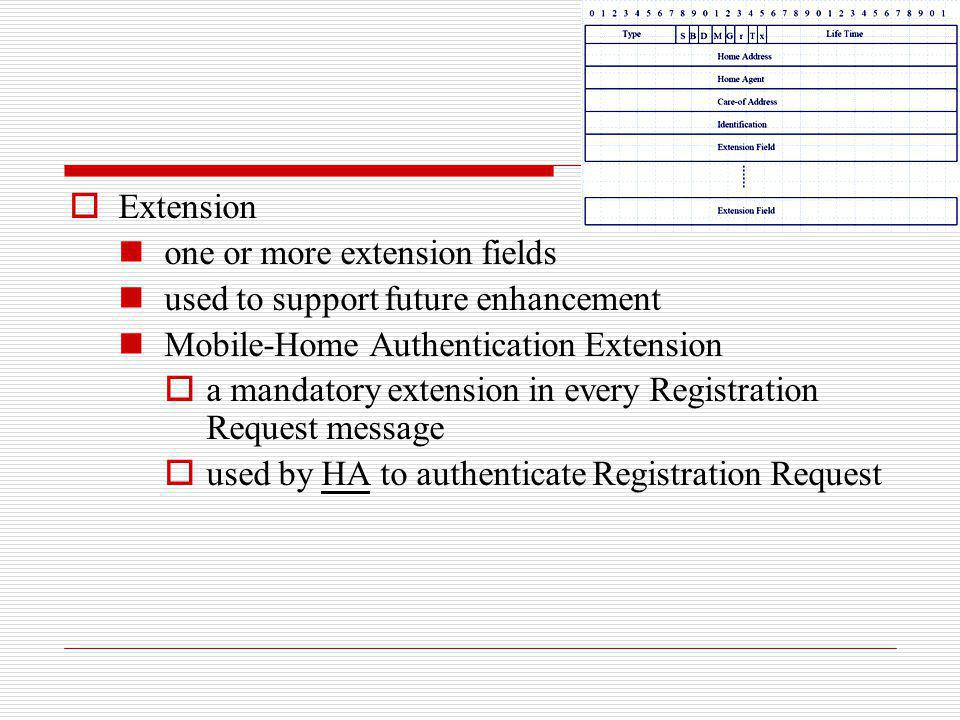 Extension one or more extension fields. used to support future enhancement. Mobile-Home Authentication Extension.