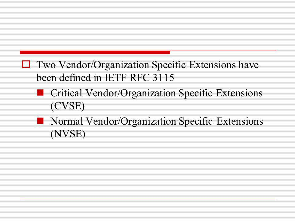 Two Vendor/Organization Specific Extensions have been defined in IETF RFC 3115