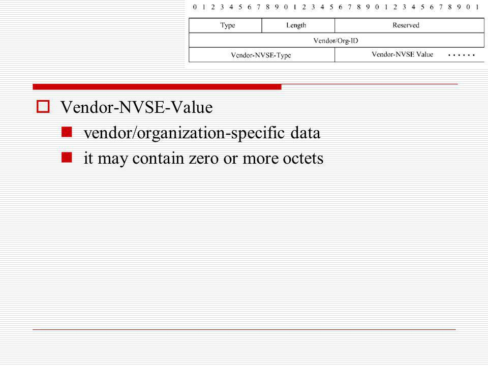 Vendor-NVSE-Value vendor/organization-specific data it may contain zero or more octets
