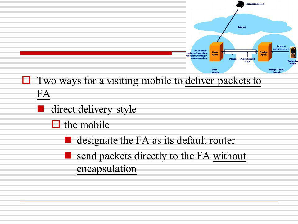 Two ways for a visiting mobile to deliver packets to FA