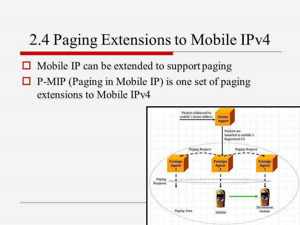 2.4 Paging Extensions to Mobile IPv4