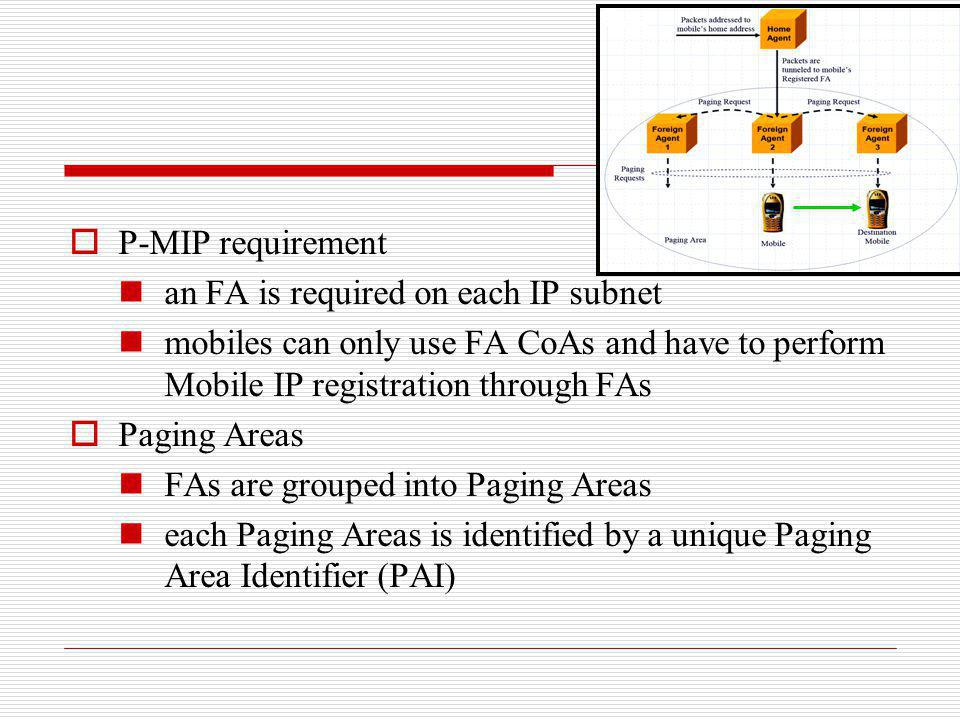 P-MIP requirement an FA is required on each IP subnet. mobiles can only use FA CoAs and have to perform Mobile IP registration through FAs.
