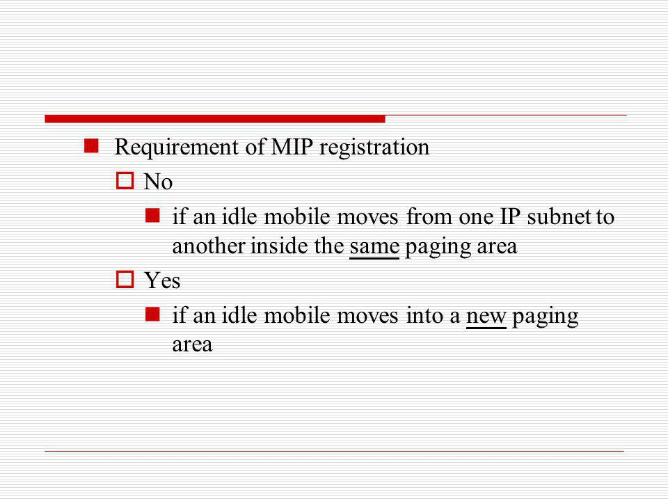 Requirement of MIP registration