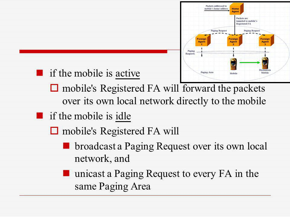 if the mobile is active mobile s Registered FA will forward the packets over its own local network directly to the mobile.
