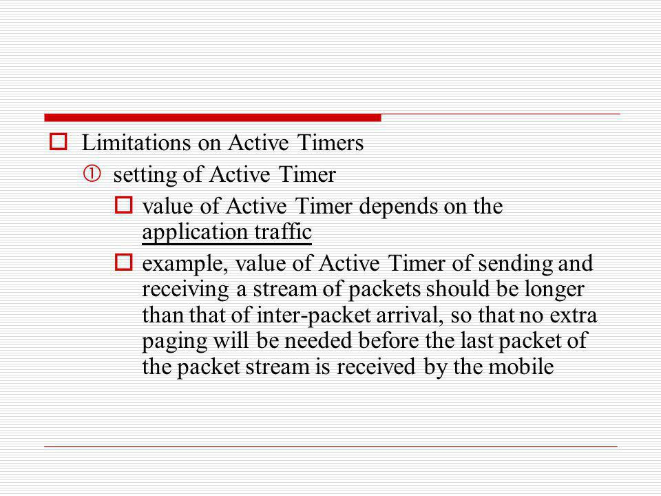 Limitations on Active Timers