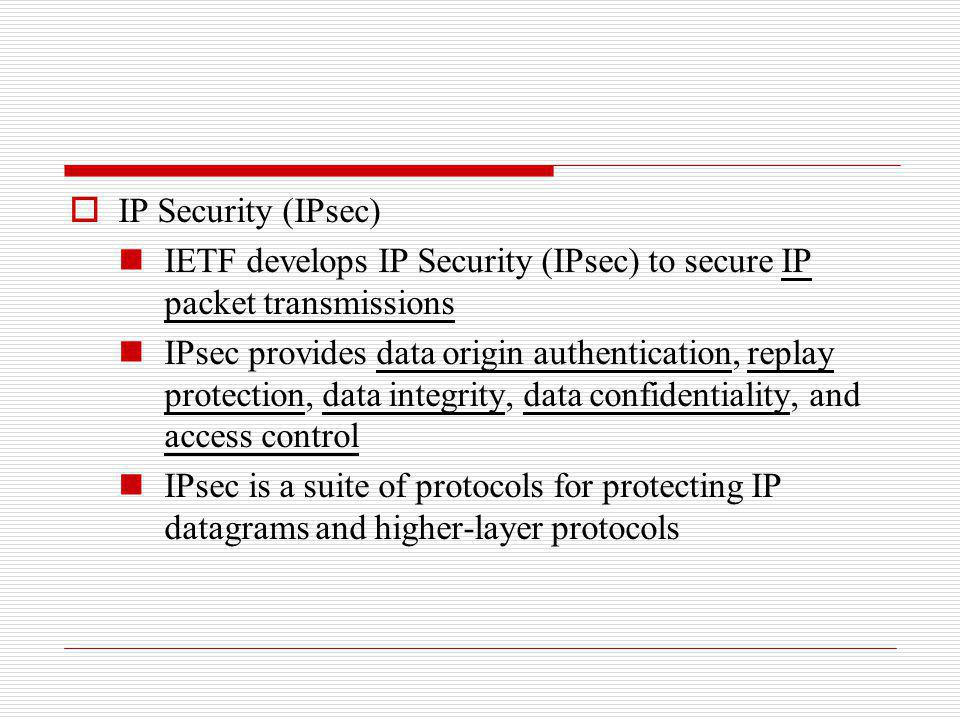 IP Security (IPsec) IETF develops IP Security (IPsec) to secure IP packet transmissions.