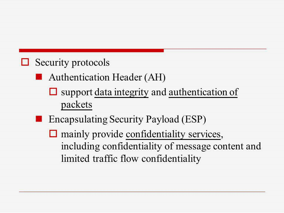 Security protocols Authentication Header (AH) support data integrity and authentication of packets.