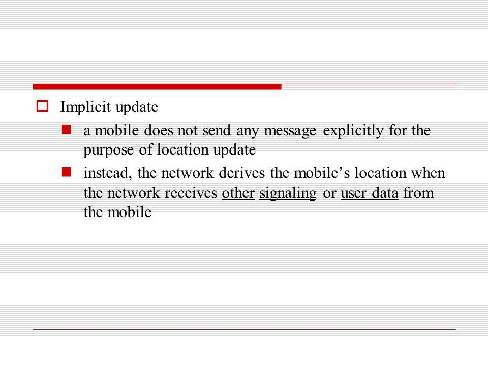 Implicit update a mobile does not send any message explicitly for the purpose of location update.