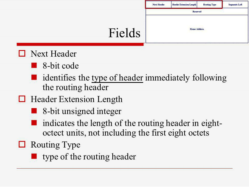 Fields Next Header 8-bit code