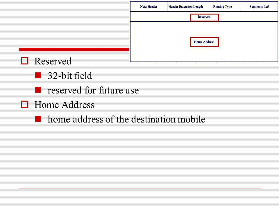 Reserved 32-bit field reserved for future use Home Address home address of the destination mobile
