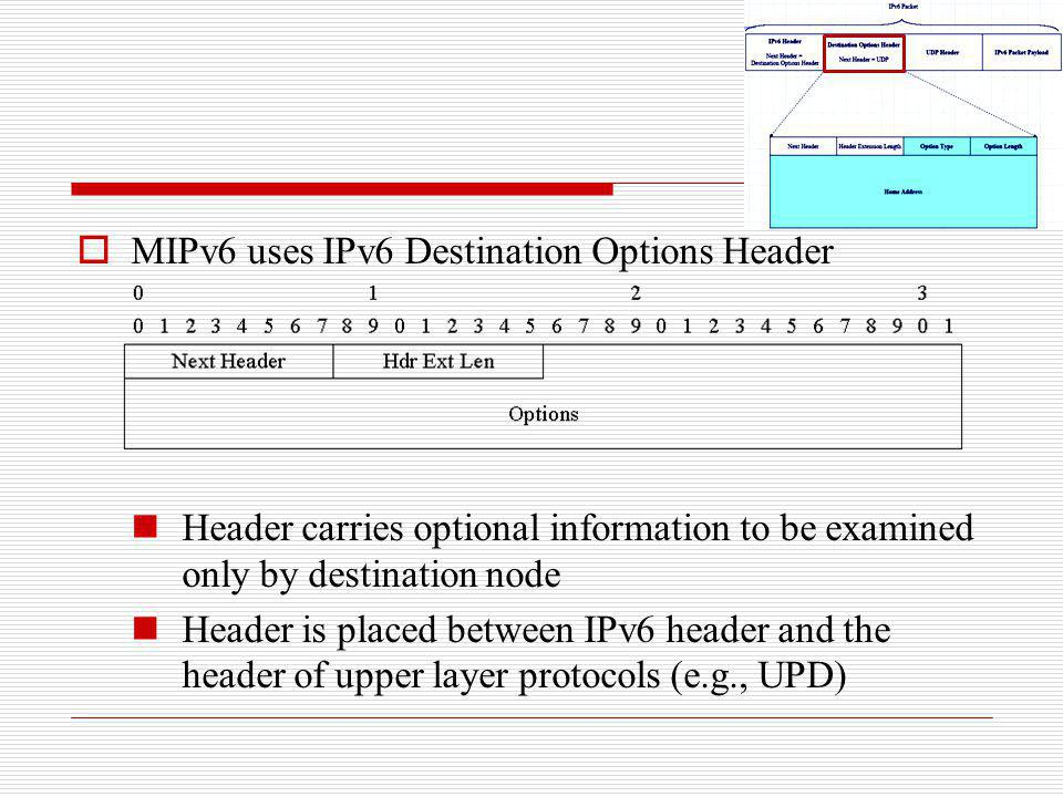 MIPv6 uses IPv6 Destination Options Header