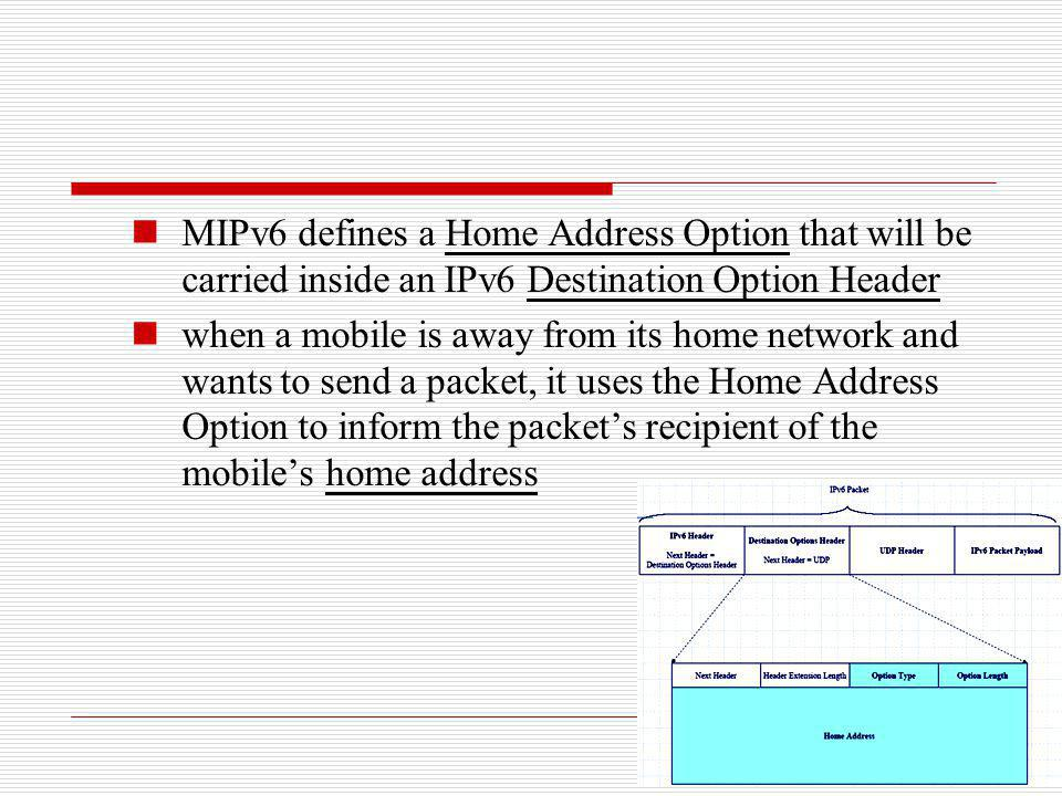 MIPv6 defines a Home Address Option that will be carried inside an IPv6 Destination Option Header