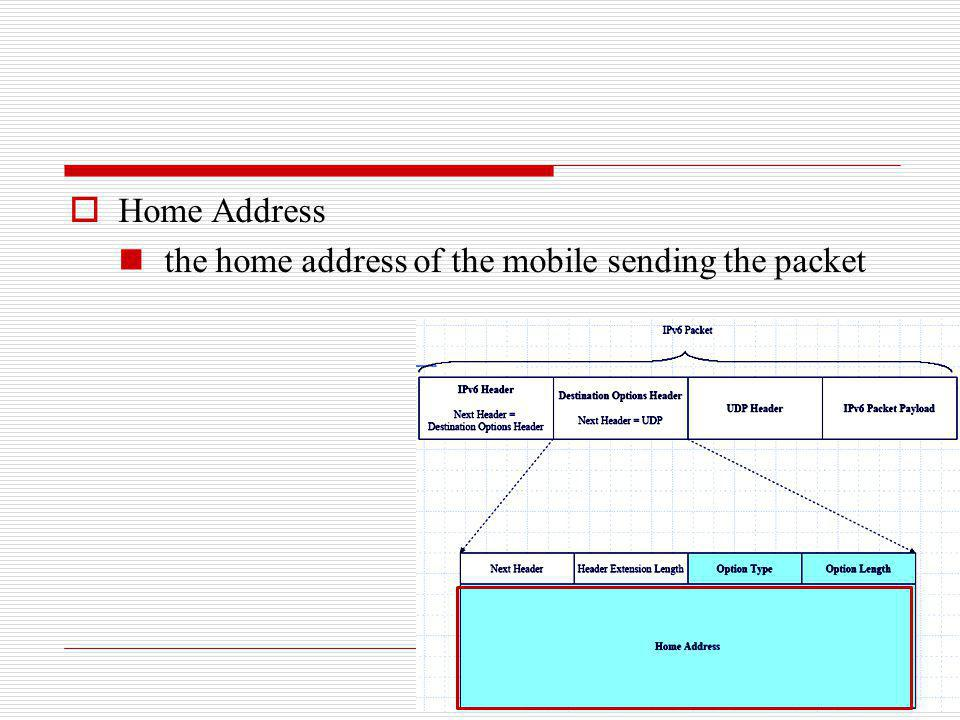Home Address the home address of the mobile sending the packet