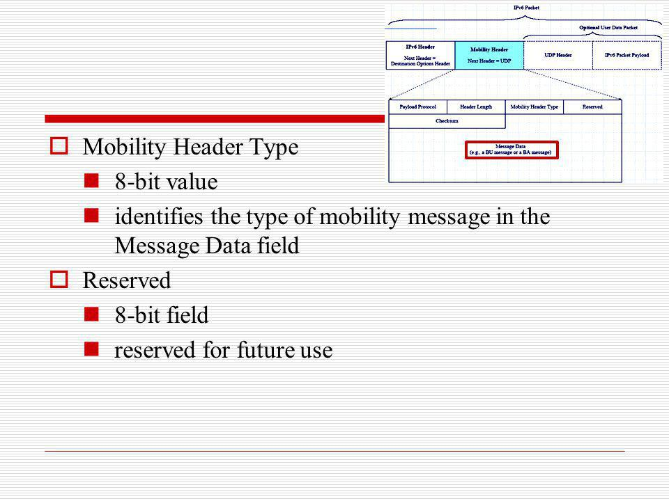 Mobility Header Type 8-bit value. identifies the type of mobility message in the Message Data field.