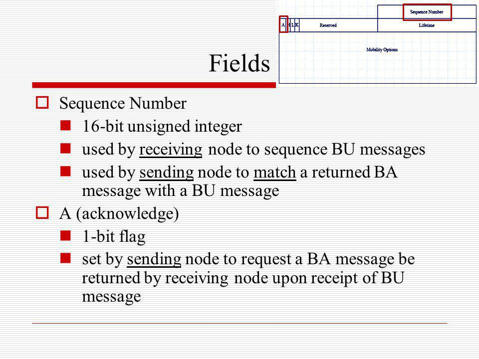 Fields Sequence Number 16-bit unsigned integer