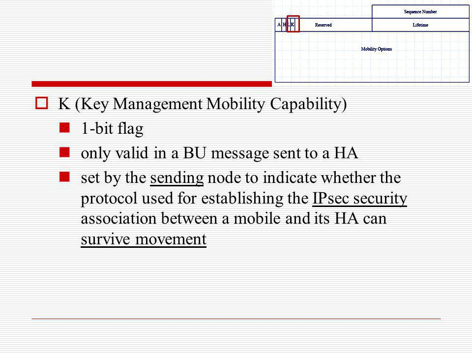 K (Key Management Mobility Capability)