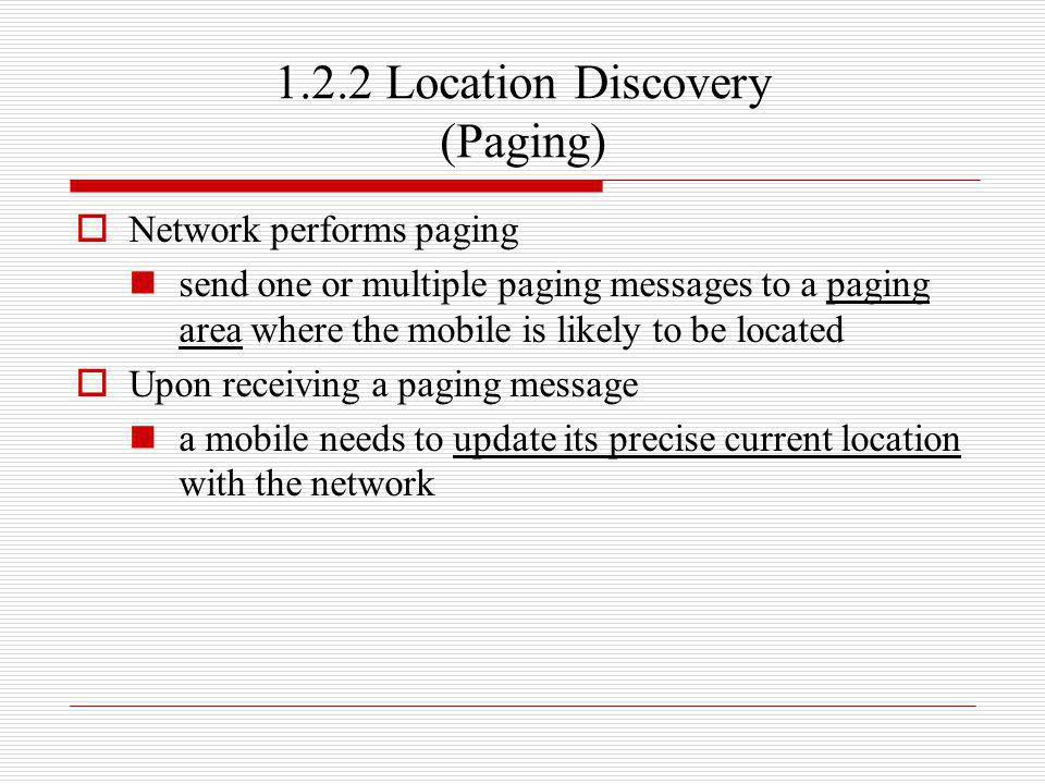 1.2.2 Location Discovery (Paging)