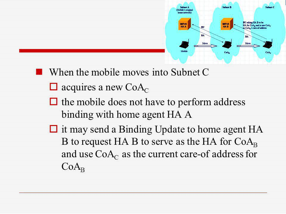 When the mobile moves into Subnet C