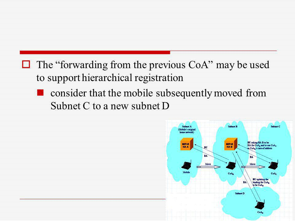 The forwarding from the previous CoA may be used to support hierarchical registration