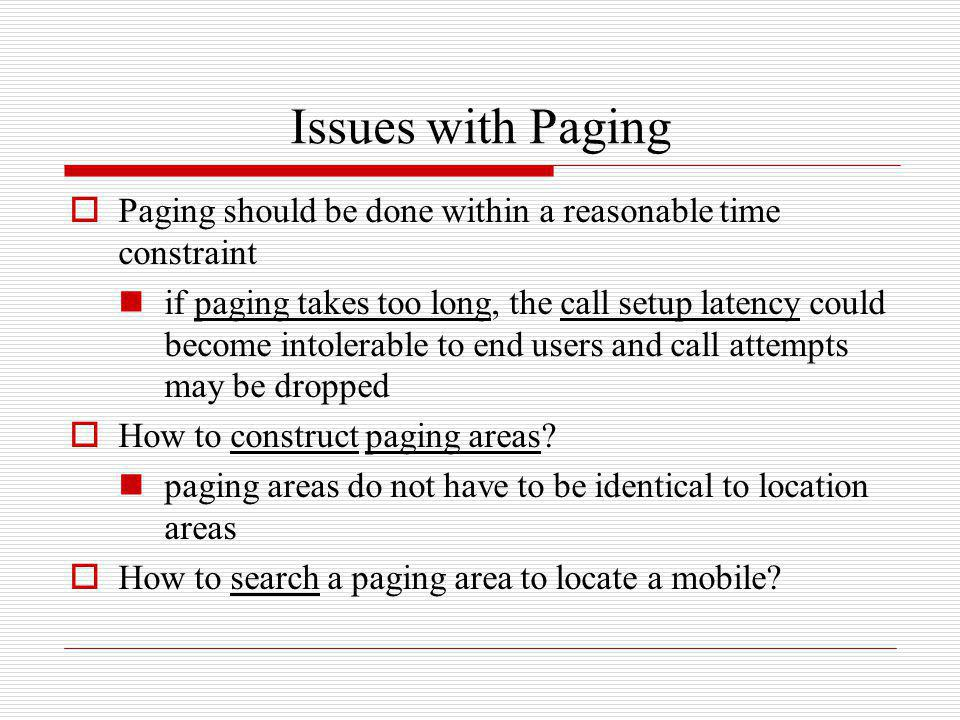 Issues with Paging Paging should be done within a reasonable time constraint.