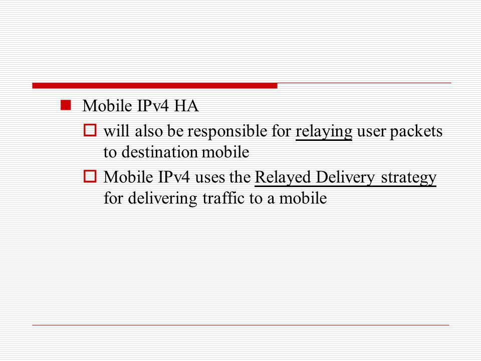 Mobile IPv4 HA will also be responsible for relaying user packets to destination mobile.