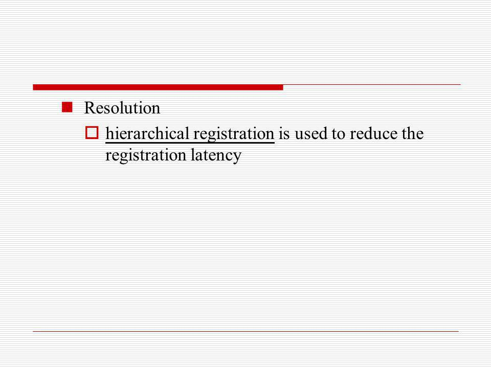Resolution hierarchical registration is used to reduce the registration latency