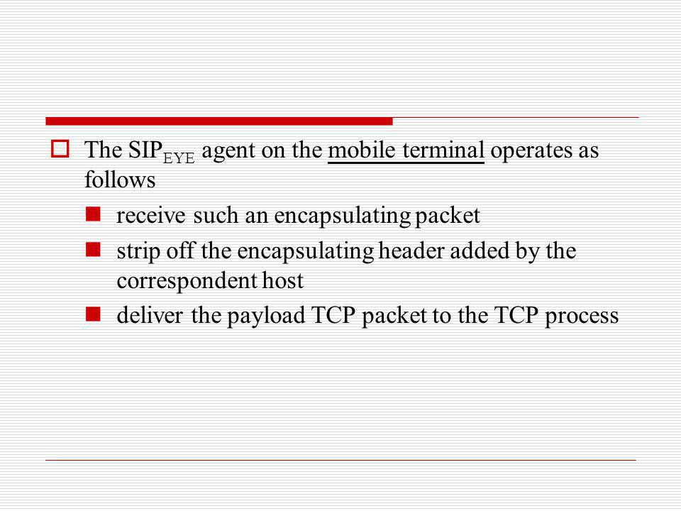 The SIPEYE agent on the mobile terminal operates as follows