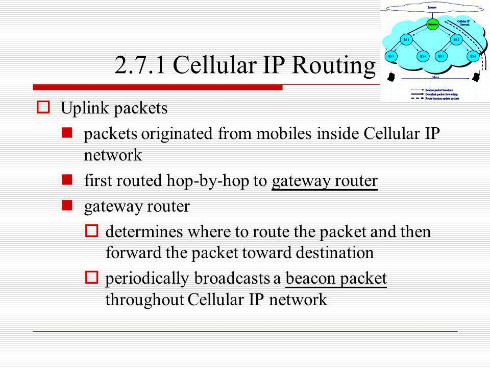 2.7.1 Cellular IP Routing Uplink packets
